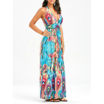 Peacock Print Halter Backless Padded Maxi Dress