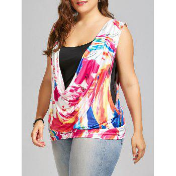 Sleeveless Printed Plus Size Top with Camisole