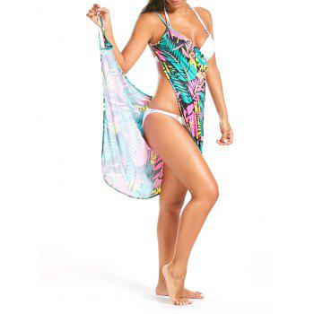 Colorful Palm Leaf Printed Short Cover Up Dress