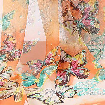 Chiffon Lightsome Fancy Butterfly Printed Scarf - YELLOW