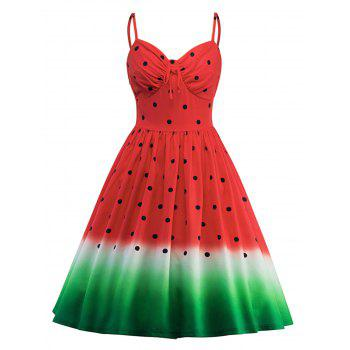 Spaghetti Strap A Line Watermelon Print Dress