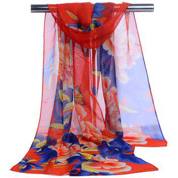 Long Gossamer Showy Floral Printing Scarf