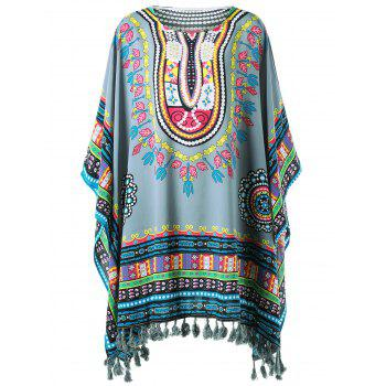 Tribal Butterfly Sleeve Fringed Cover-up