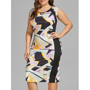 Plus Size Sleeveless Keyhole Geometric Sheath Dress