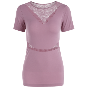 Mesh Openwork Breathable Fitness T-shirt - DEEP PINK S