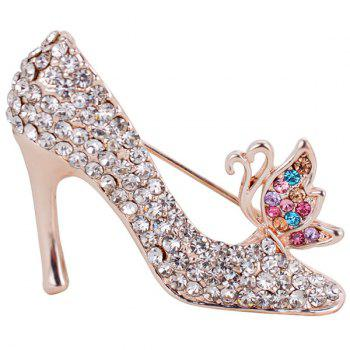 Rhinestone Inlay Butterfly High-heeled Shoe Brooch