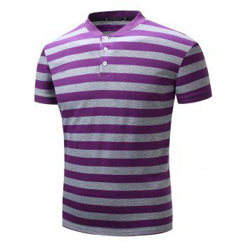 Rib Panel Stripe Color Block Polo T-shirt