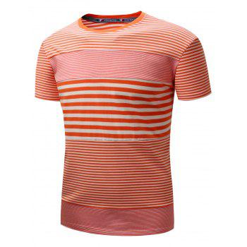 Plucked Striped Panel Short Sleeve T-shirt