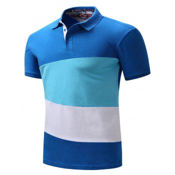 Polo Collar Color Block Panel Design T-shirt