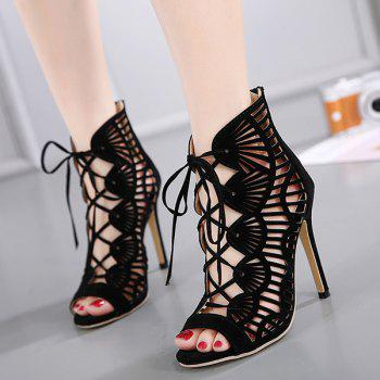 Hollow Lace Up High Heel Sandals