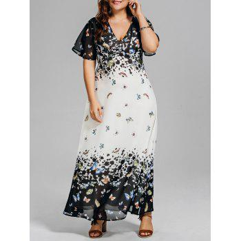 Plus Size Butterfly Print Long Beach Dress