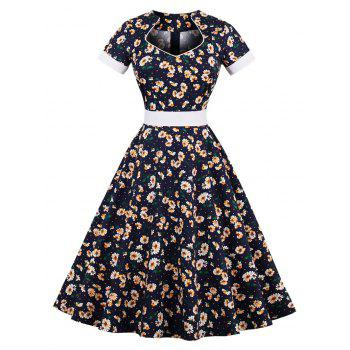 Vintage Tiny Floral Print Pin Up Dress