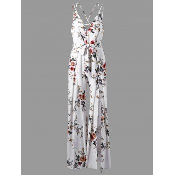 Tiny Floral Low Cut Criss Cross Jumpsuit