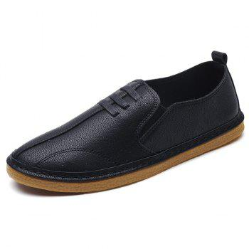 Elastic Band Faux Leather Casual Shoes - BLACK 41