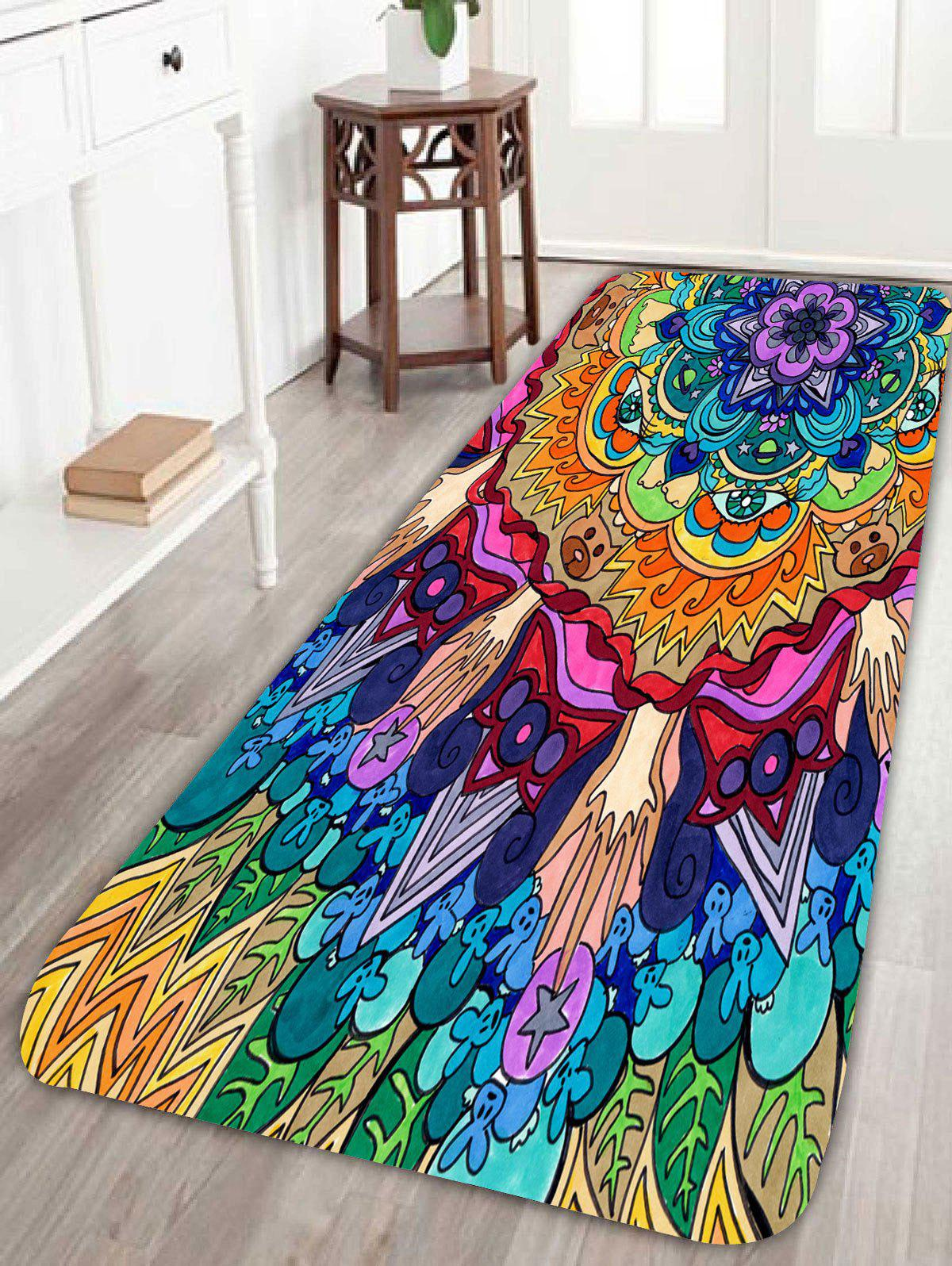 Bohemian Floral Antiskid Bath Rug allure home creations ogi geo bath rug