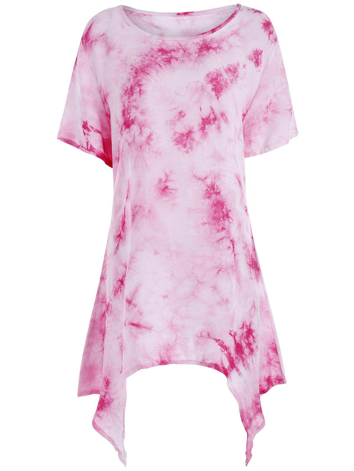 Tie Dye Asymmetrical Plus Size Tunic Top р джинсы perfect tie dye цвет розовый princess supertrash