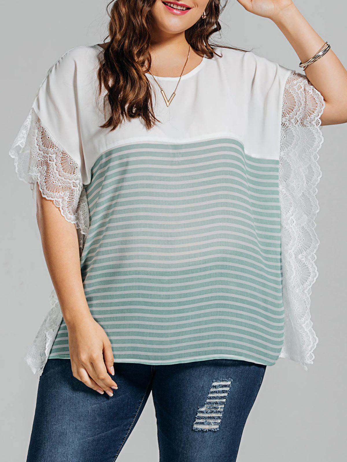 Plus Size Stripe Lace Panel Dolman Sleeve Chiffon Top футболка print bar ford mustang shelby gt500 [шредер] page 2