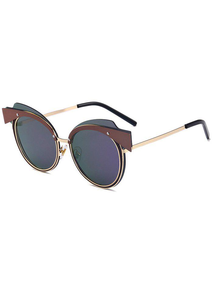 цены  Metallic Spliced Top Frame Cat Eye Sunglasses