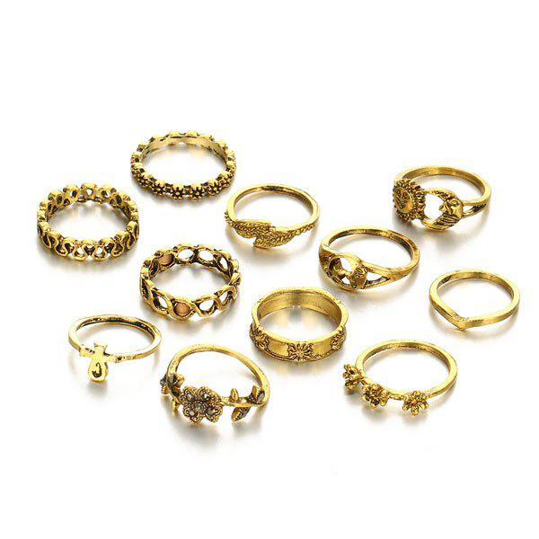 Flower Sun Moon Leaf Finger Ring Set