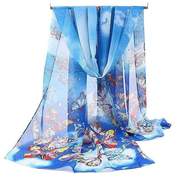 Chiffon Lightsome Fancy Butterfly Printed Scarf - AZURE