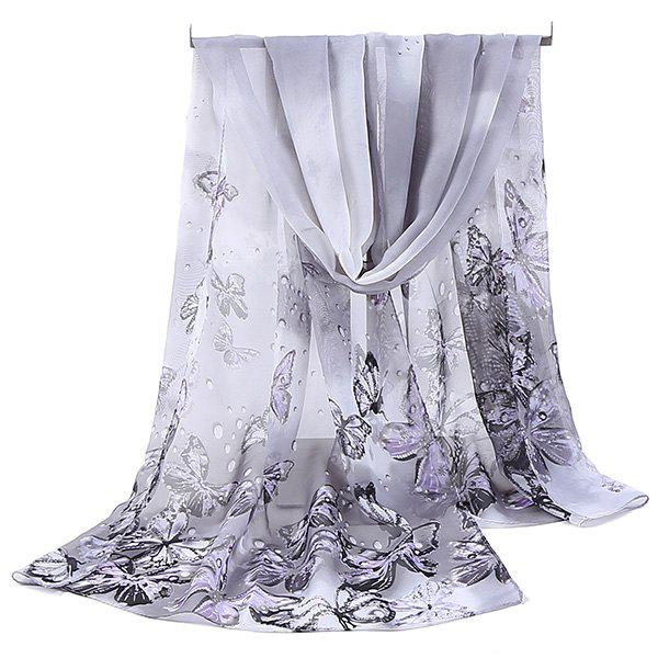 Chiffon Lightsome Fancy Butterfly Printed Scarf - GREY WHITE