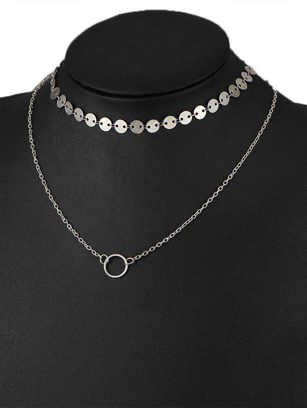 Circle Disc Collarbone Layered Pendant Necklace - SILVER