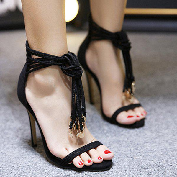 High Heel Pendant Tassel Sandals
