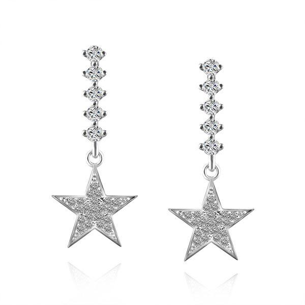 Rhinestone Star Drop Dangle Earrings rhinestones halo drop dangle clip on earrings