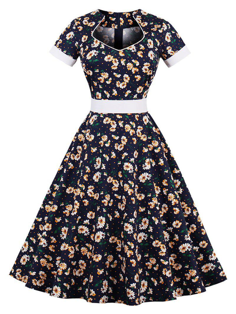 Vintage Floral Pin Up Short Sleeve Flare Dress - PURPLISH BLUE XL