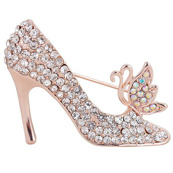 Rhinestone Inlay Butterfly High-heeled Shoe Brooch - SILVER