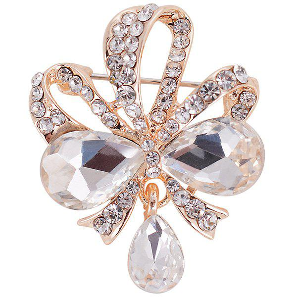 Hollow Out Design Teardrop Bowknot Rhinestone Brooch - WHITE