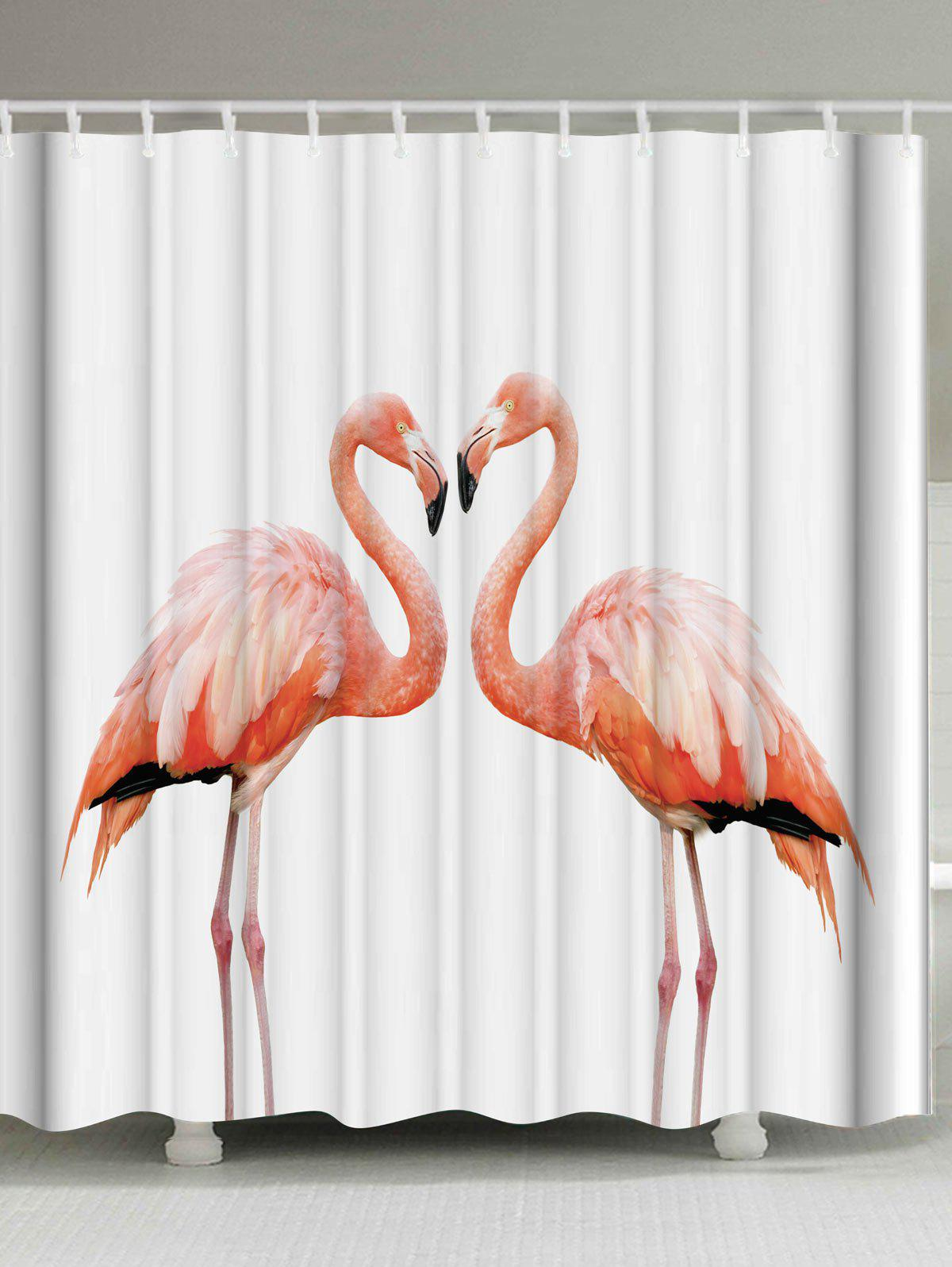 Waterproof Shower Curtain with Flamingo Print