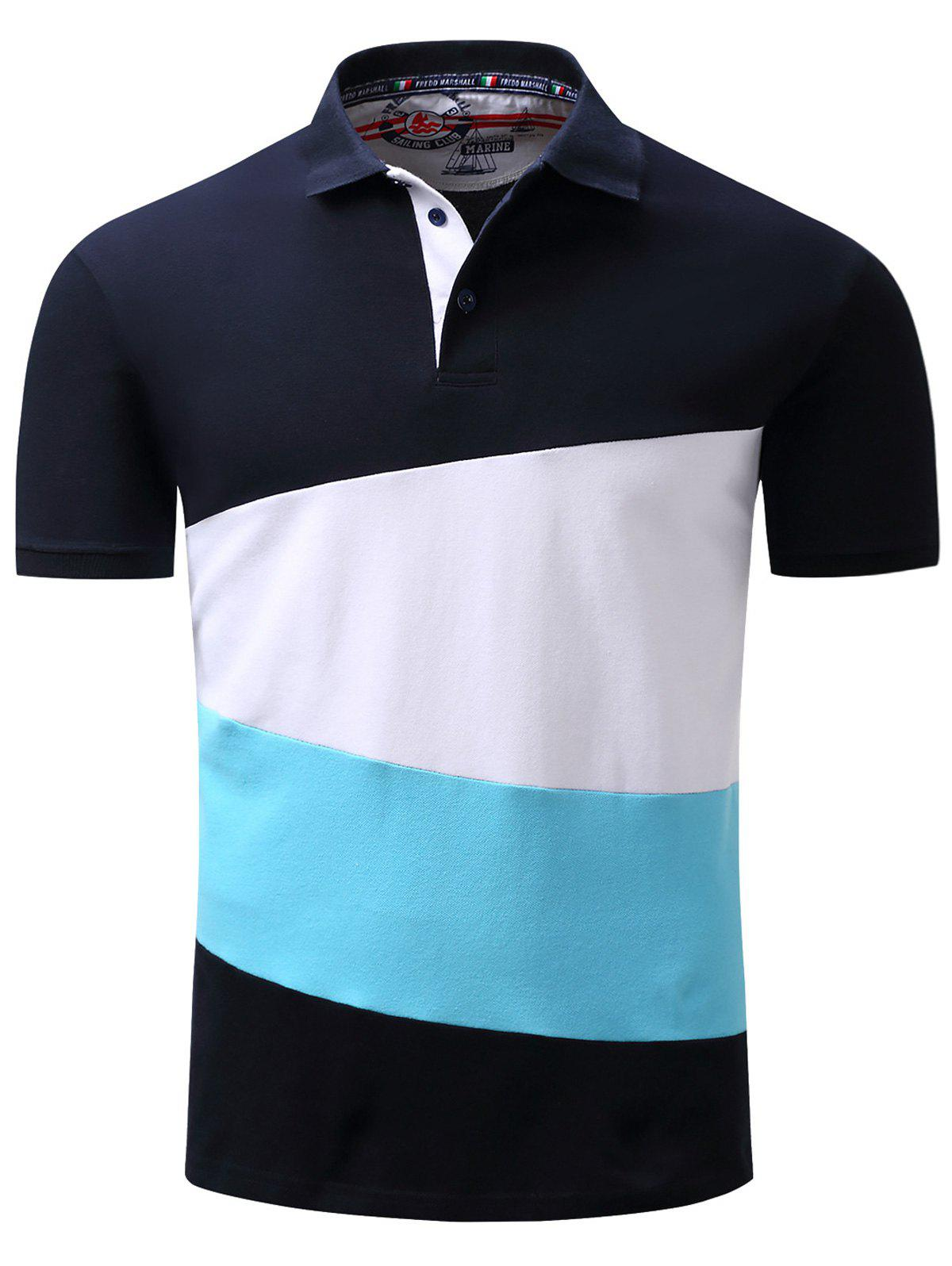2018 polo collar color block panel design t shirt deep for Polo color block shirt