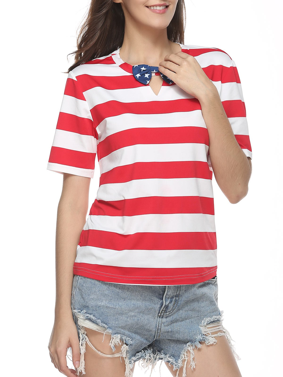 Keyhole neck striped t shirt with bow tie red m in tees for Striped shirt with tie