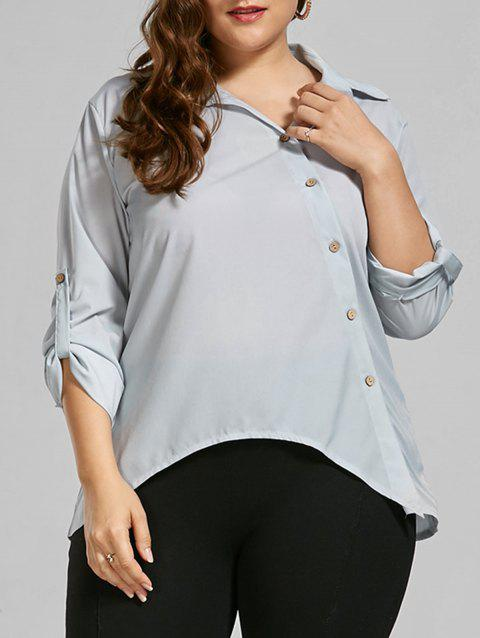 Button Up Long Sleeve Plus Size Shirt - LIGHT GREY 2XL