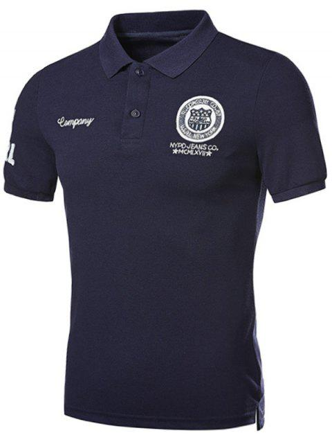 Graphic Embroidered and Applique Polo T-shirt - CADETBLUE XL