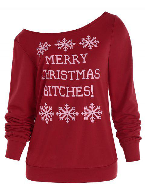 Snowflake and Letter Print Christmas Sweatshirt - RED M