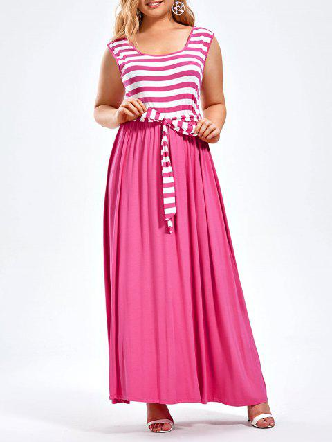 8482af767e3 17% OFF  2019 Striped Floor Length Plus Size Sleeveless Dress In ...