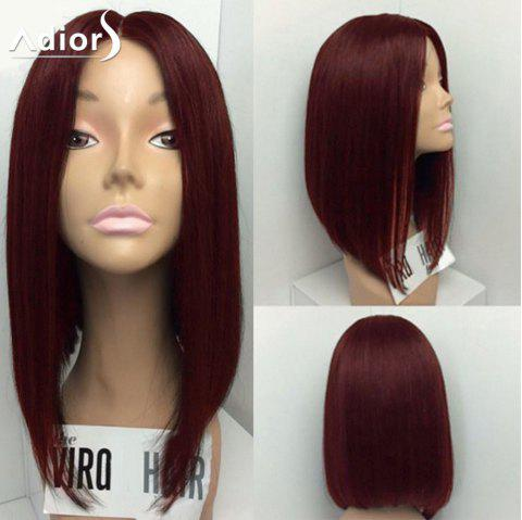 Adiors Medium Straight Bob Center Part Synthetic Wig - WINE RED 14INCH