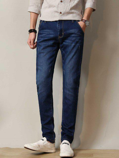Zipper Fly Straight Leg Stretchy Distressed Jeans - DEEP BLUE 34