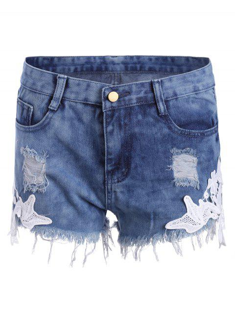 Lace Insert Frayed Ripped Denim Shorts - BLUE S