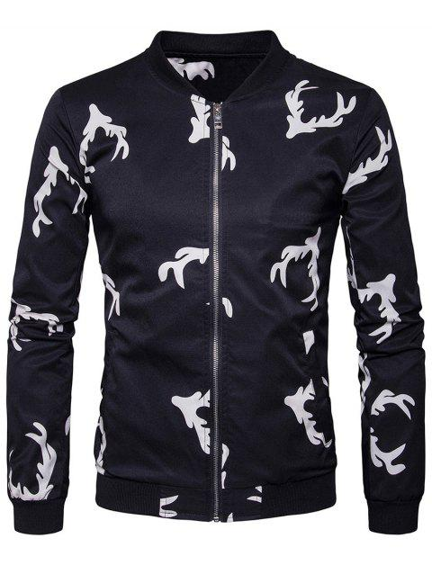 Zip Up Elk Head Print Bomber Jacket - Noir L