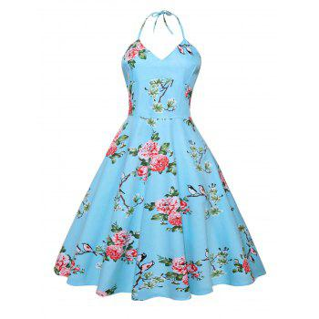 Vintage Halter Floral Print Backless Dress