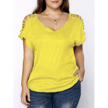Plus Size Ripped Sleeve V Neck T-Shirt
