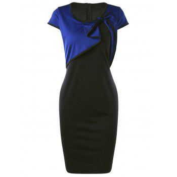 Cap Sleeve Overlay Bowknot Detail Pencil Dress