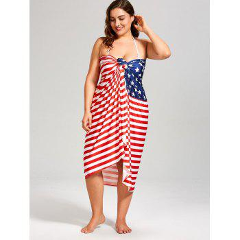 Stars and Stripes Print Plus Size Cover Up Dress - COLORMIX 5XL