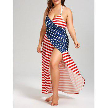 Plus Size American Flag Cover Up Wrap Dress