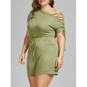 Skew Collar Lace Up Plus Size Romper