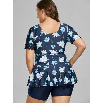 Floral Padded Plus Size Bathing Suit - DEEP BLUE 4XL