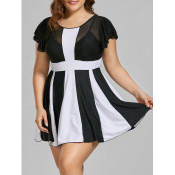 Two Tone Padded High Waisted Plus Size Swimdress